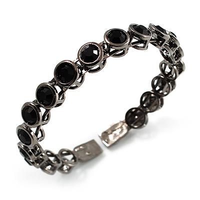 Stunning Black CZ Crystal Flex Bangle Bracelet (Black Tone) - main view