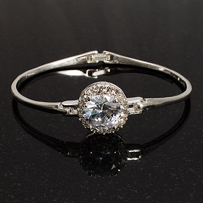 Classic CZ Crystal Bangle Bracelet (Silver&Clear)