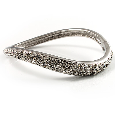 Rhodium Plated Curved Swarovski Crystal Bangle Bracelet - Up to 17cm (For Smaller Wrists)