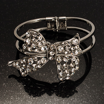 Silver Tone Crystal Bow Hinged Bangle Bracelet - main view