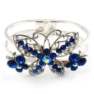 Swarovski Crystal Butterfly Hinged Bangle Bracelet (Silver&Blue)