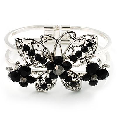 Swarovski Crystal Butterfly Hinged Bangle Bracelet (Silver&Jet Black)
