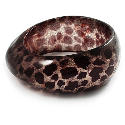 Animal Print Chunky Glittering Resin Bangle(Giraffe Print) - main view