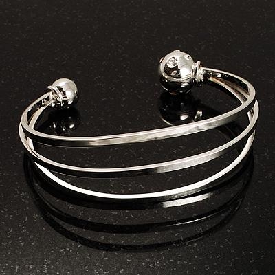 Silver Tone Crystal Cuff Bangle