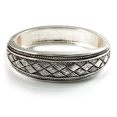 Vintage Braided Hinged Bangle Bracelet (Antique Silver Tone) - main view