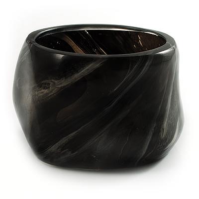 Bold Wide Chunky Resin Bangle (Black & White)