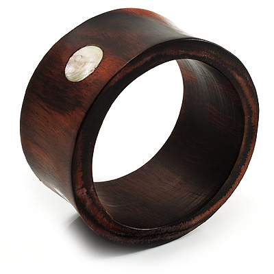 Wide Chunky Wood Shell Dotted Bangle - 18cm Long
