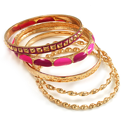 Set Of 5 Pcs Metal Gold Bangles (Pink Enamel)
