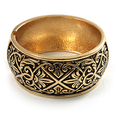 Wide Burnished Gold Plated Ethnic Bangle Bracelet - 33mm Width (Hinged) - main view