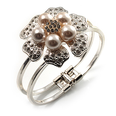 Bridal Imitation Pearl Floral Hinged Bangle Bracelet (Silver Tone)