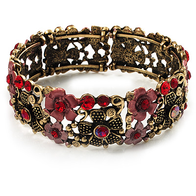 Victorian Red Crystal Floral Flex Cuff Bangle (Bronze Tone)