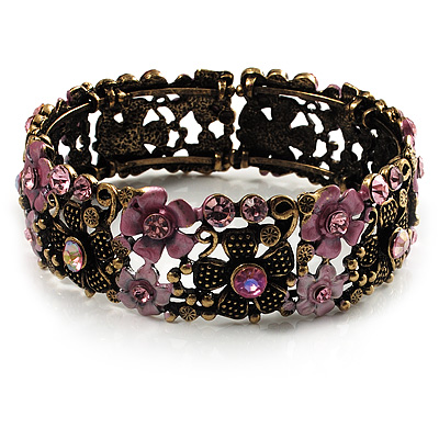 Victorian Pink Crystal Floral Flex Cuff Bangle (Bronze Tone) - main view