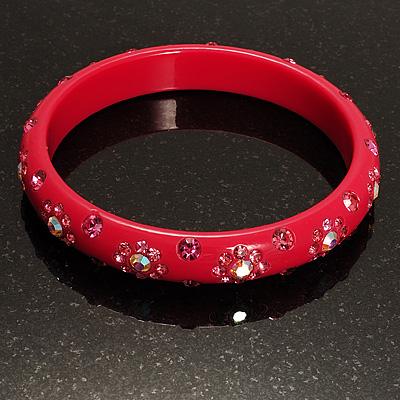 Swarovski Crystal Floral Resin Bangle (Magenta & Deep Pink)