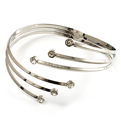 Silver Tone Crystal Armlet Bangle - Adjustable
