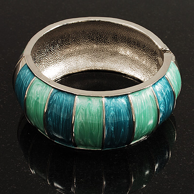 Segmental Wide Enamel Hinged Bangle (Light Blue & Light Green)