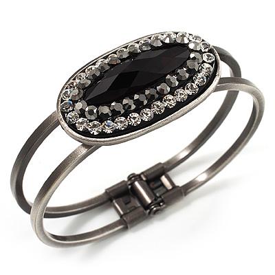 Vintage Black Oval Diamante Hinged Bangle Bracelet (Antique Silver Tone)