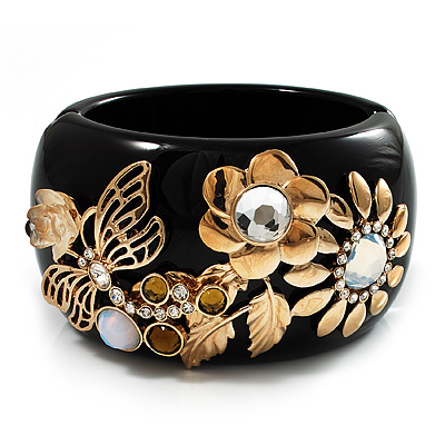 Wide Black Resin 'Flower & Butterfly' Hinged Bangle Bracelet