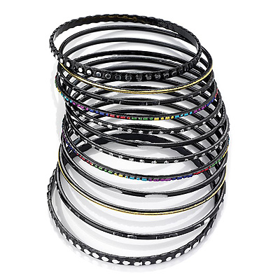 Black Multicoloured Smooth & Textured Glitter Metal Bangles - Set of 10Pcs