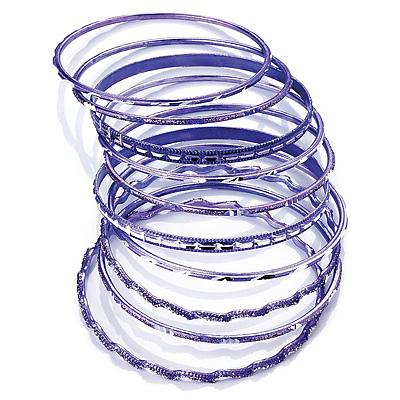 Lilac Smooth & Textured Glitter Metal Bangles - Set of 10Pcs