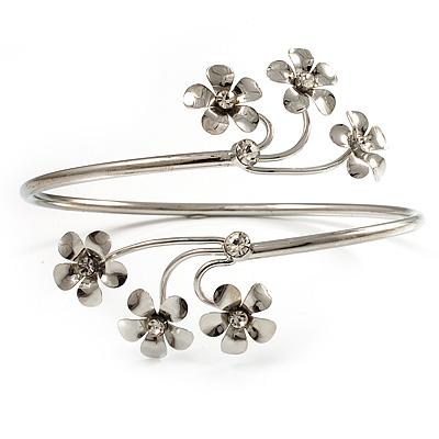 Rhodium Plated Diamante Floral Upper Arm Bracelet