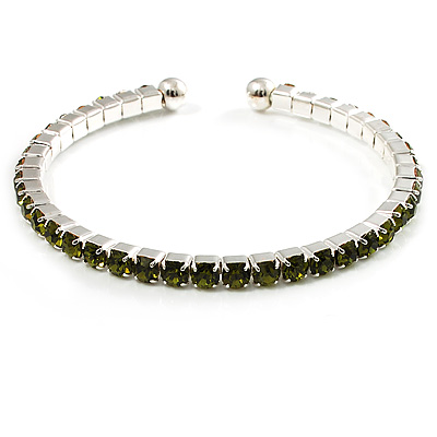 Light Olive Crystal Thin Flex Bangle Bracelet (Silver Tone) - main view