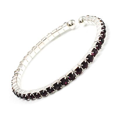 Deep Purple Crystal Thin Flex Bangle Bracelet (Silver Tone)