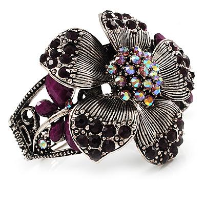 Striking Diamante Flower Hinged Bangle Bracelet ( Burn Silver & Deep Purple) - main view