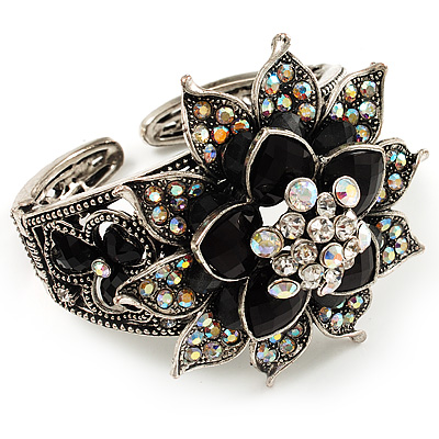 Divine AB Crystal Flower Hinged Bangle Bracelet (Burn Silver) - main view