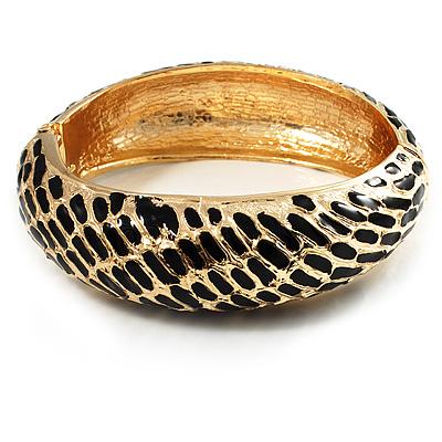 Gold Plated Animal Pattern Hinged Bangle Bracelet (Gold & Black)