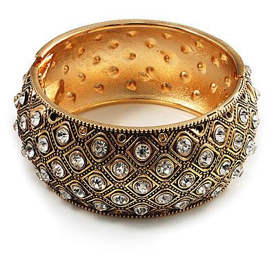 Antique Gold Crystal Hinged Bangle Bracelet