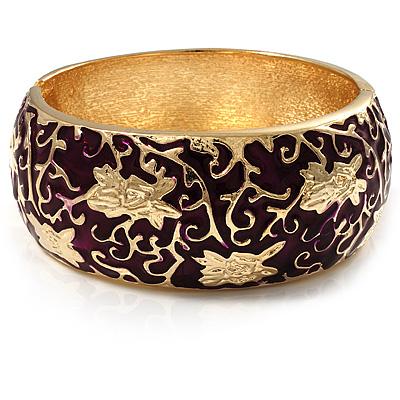 Wide Deep Purple Enamel Floral Pattern Hinged Bangle Bracelet (Gold Plated)