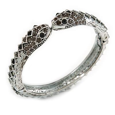 Vintage Diamante Snake Hinged Bangle Bracelet (Antique Silver)