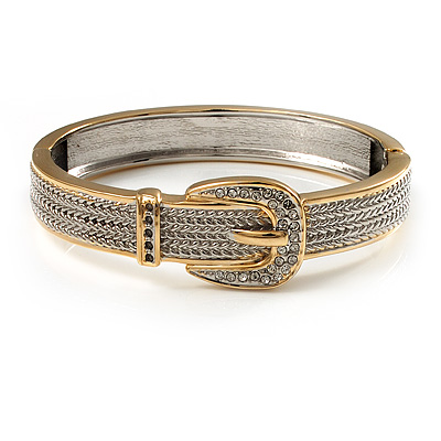Two Tone Textured 'Buckle' Hinged Bangle Bracelet