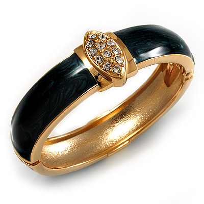 Statement Teal Enamel Crystal Hinged Bangle Bracelet (Gold Tone)