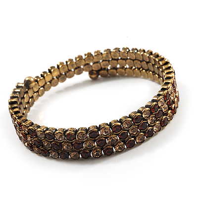 Burn Gold Amber Coloured Crystal Multistrand Flex Bangle Bracelet - main view