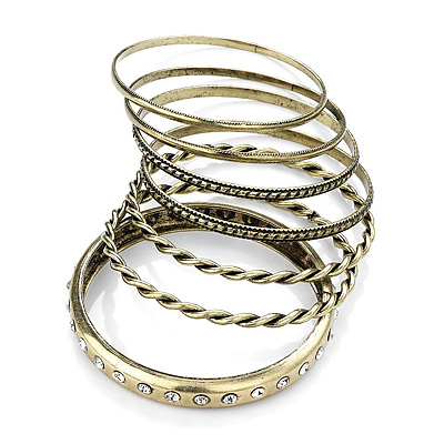 Set Of 7 Pcs Bronze Metal Crystal & Hammered Bangle