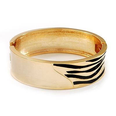 Gold Plated 'Zebra Print' Hinged Bangle Bracelet