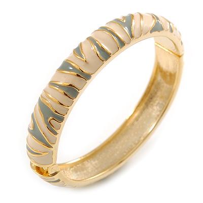 Light Cream & Light Grey Hinged Bangle Bracelet (Gold Tone)
