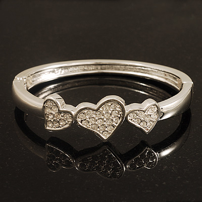 Rhodium Plated Diamante Heart Hinged Bangle Bracelet