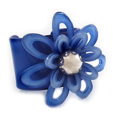 Violet Blue Wide Acrylic Floral Cuff Bangle