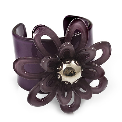 Violet Wide Acrylic Floral Cuff Bangle