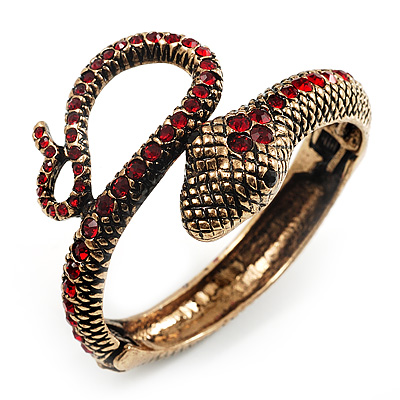 Vintage Diamante Snake Bangle Bracelet (Burn Gold Tone)