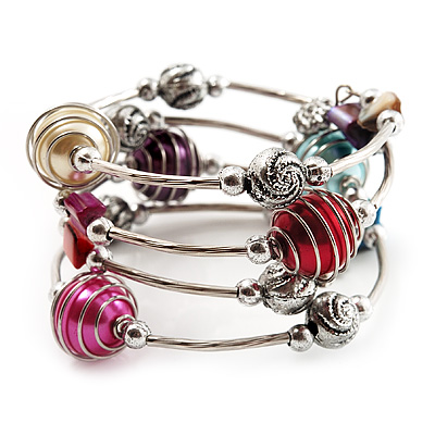 Silver-Tone Beaded Multistrand Flex Bracelet (Multicoloured)