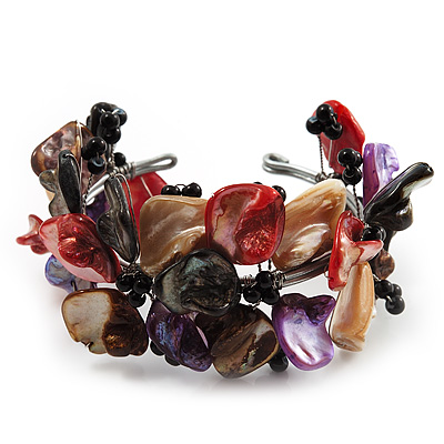 Multicoloured Floral Shell & Simulated Pearl Cuff Bracelet (Silver Tone)