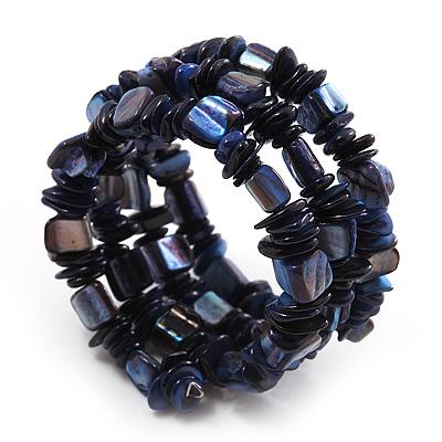 Blue Shell-Composite Coil Flex Bracelet