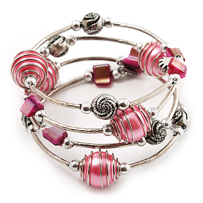 Silver-Tone Beaded Multistrand Flex Bracelet (Light Pink) - main view