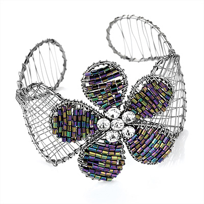 Silver Tone Beaded Flower Wire Flex Cuff Bracelet - 20cm Length - main view