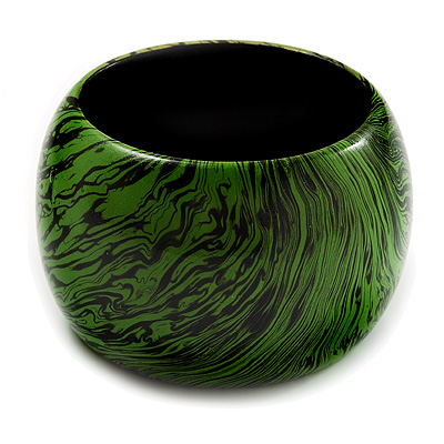Oversized Chunky Wide Wood Bangle (Black & Grass Green)