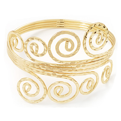 Gold Plated Textured 'Spiral' Upper Arm Bracelet Armlet - 28cm Long - Adjustable