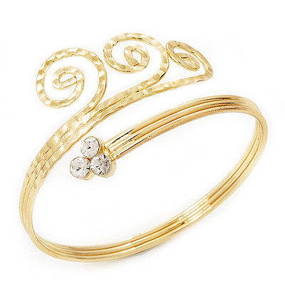 Gold Tone Textured Crystal 'Twirly' Upper Arm Bracelet Armlet - 28cm Long - Adjustable